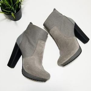 Diesel Gray Leather Suede Ankle Boots